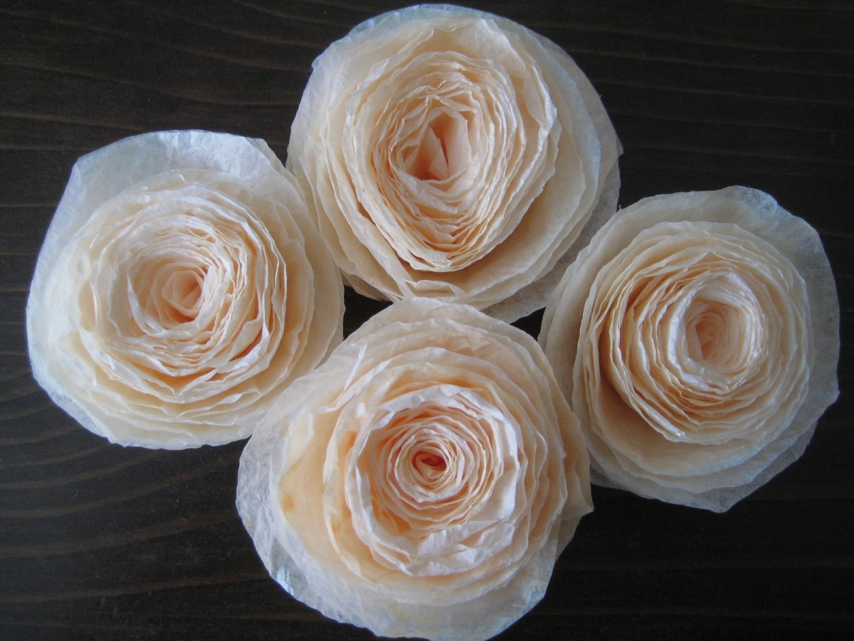 Rolled Coffee Filter Roses. Enchanting Rosettes