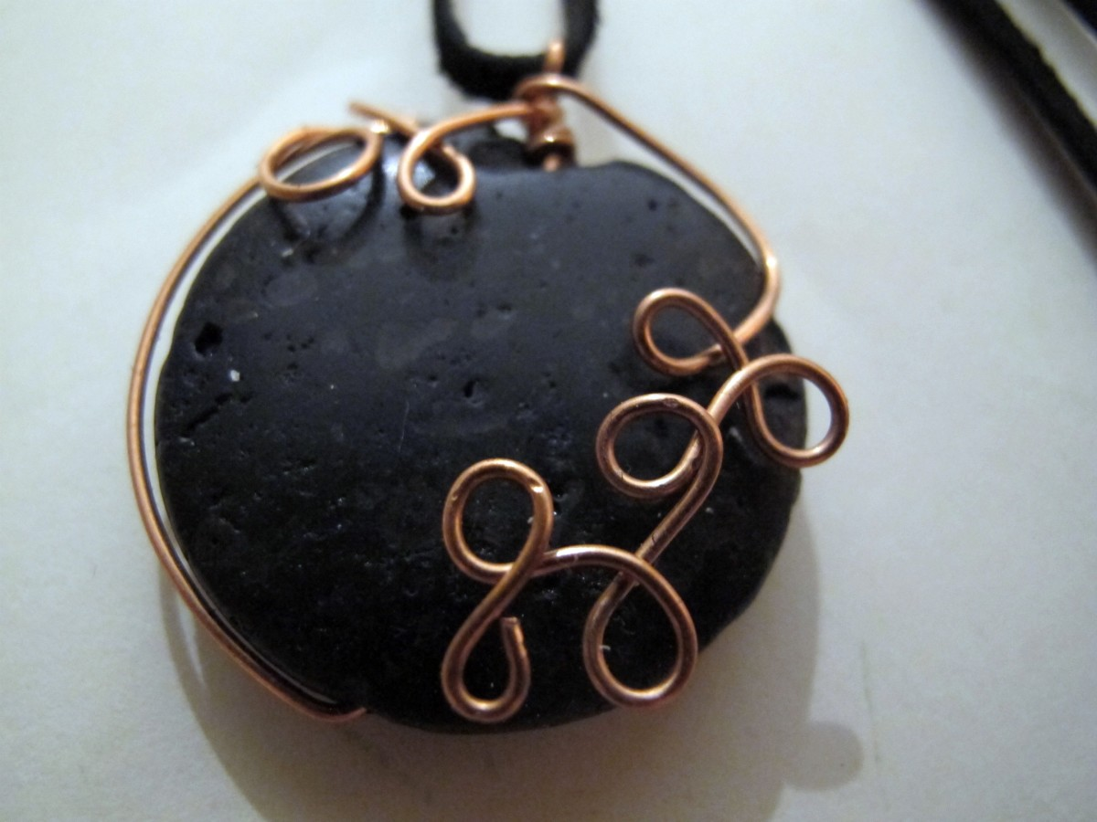 Lava stone with copper wrap