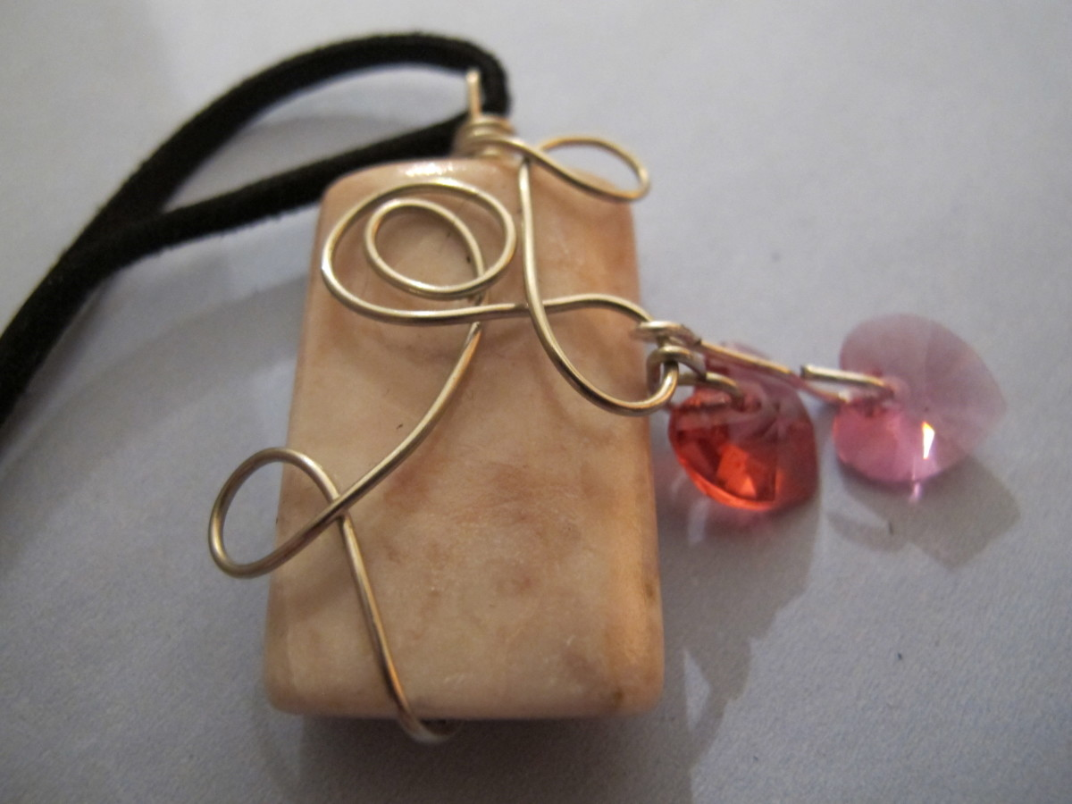 Pink marble with silver wrap and Swarovski crystal hearts