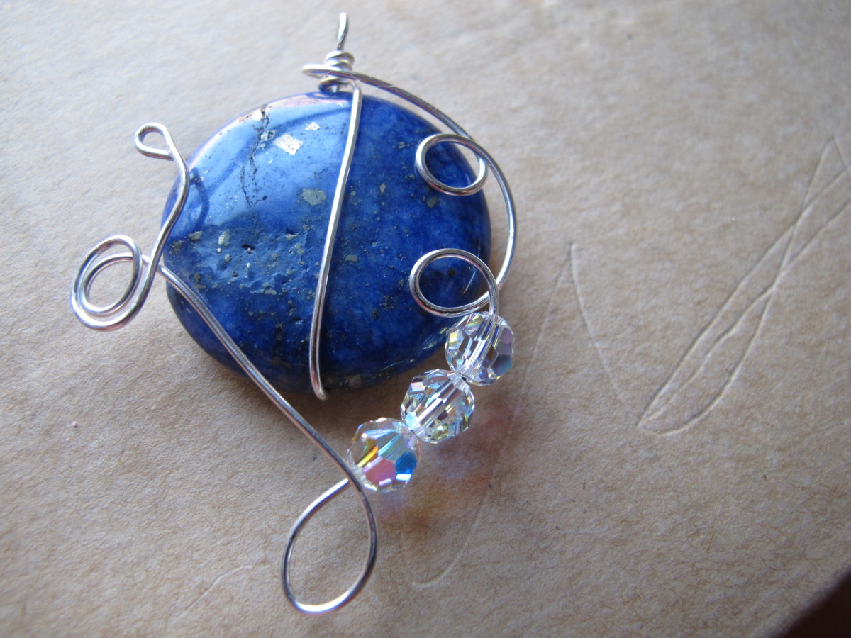 Lapis lazuli with silver wire wrap and Swarovski crystals