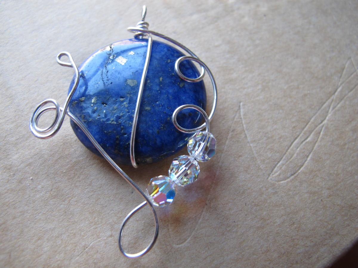 Lapis lazuli with silver wire wrap and Swarovski crystals