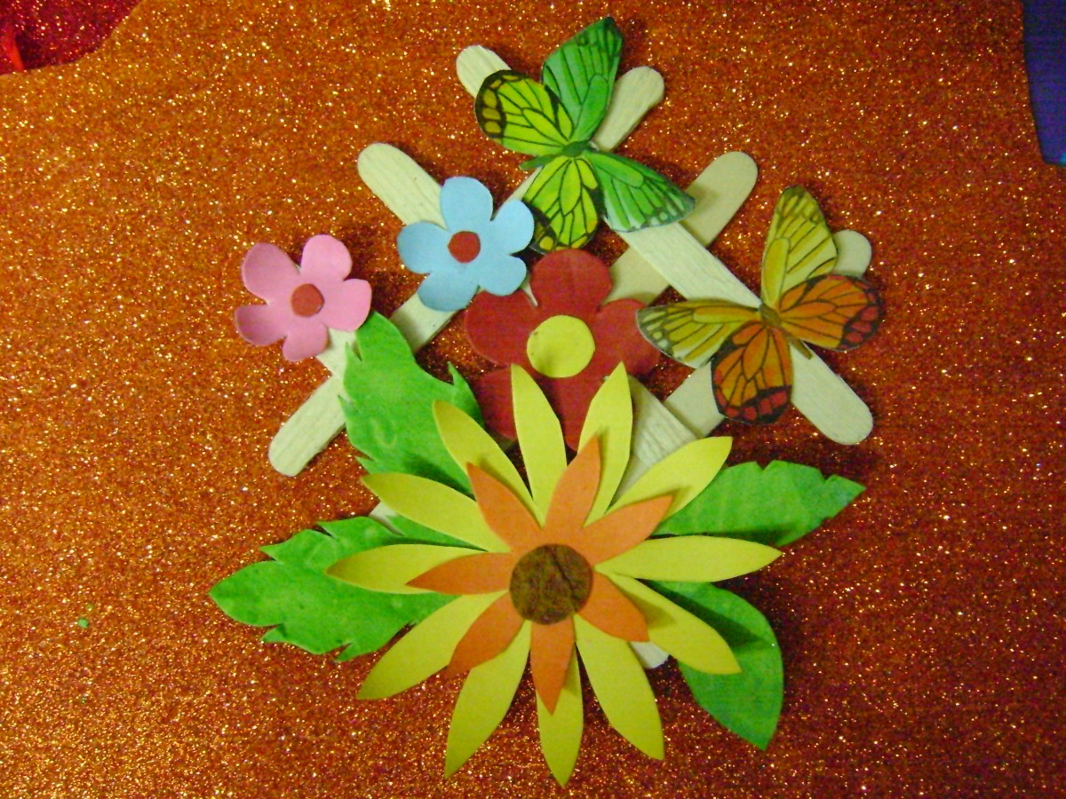 Glue The Leaves To Back Of Big Flower Small Flowers And Other Shapes Ice Cream Stick Base