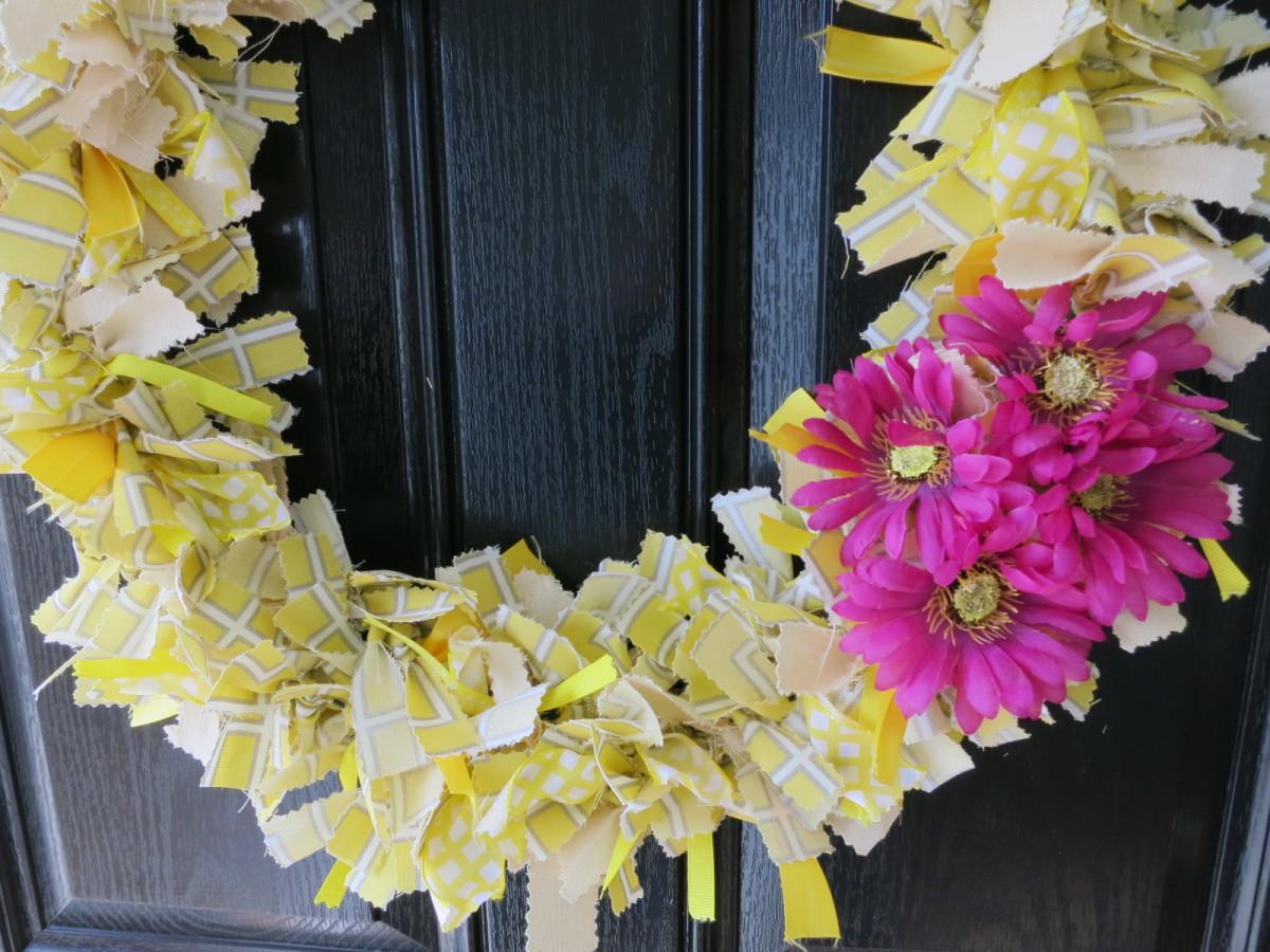 finished handmade fabric wreath  (c) purl3agony 2013