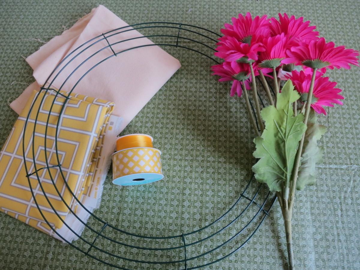 supplies for handmade fabric wreath  (c) purl3agony 2013