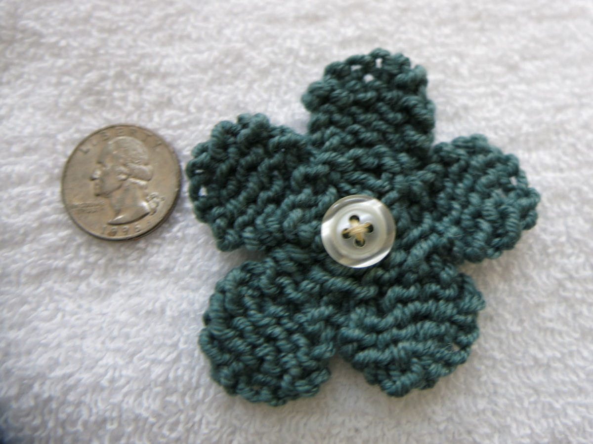 This is a small knitted flower.