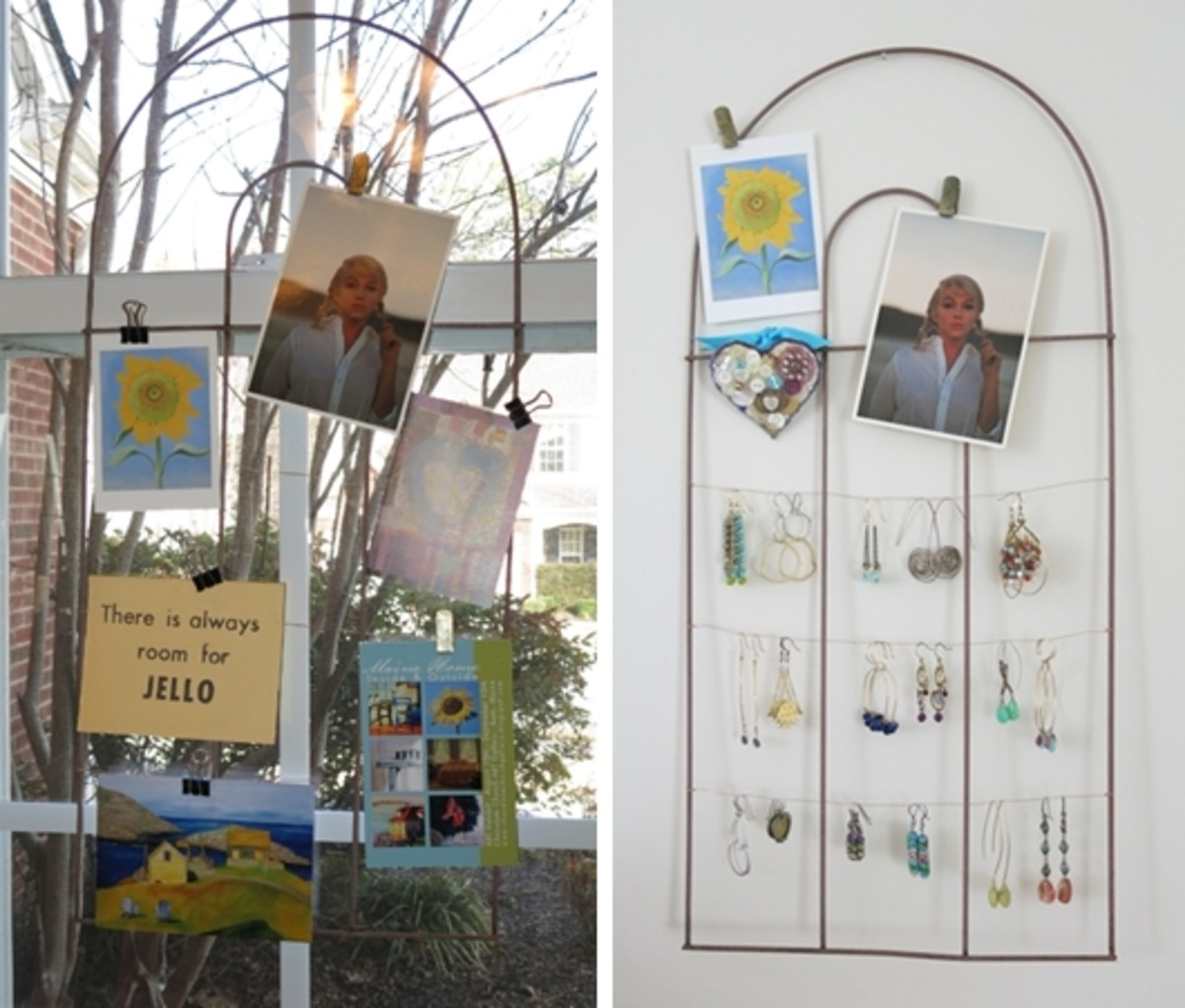 recycle a simple garden fence into a bulletin board or jewelry organizer for your wall or window