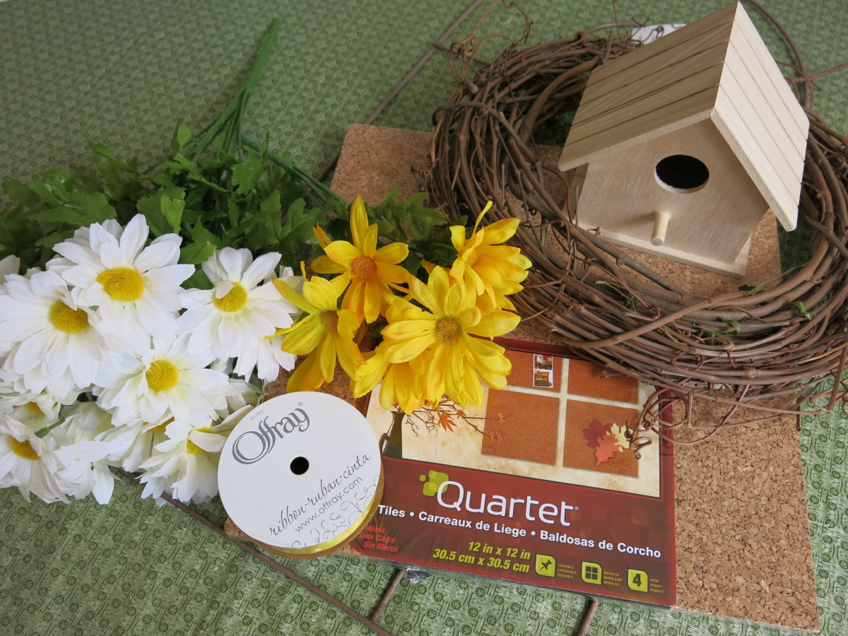 materials for a garden-inspired wreath and bird house