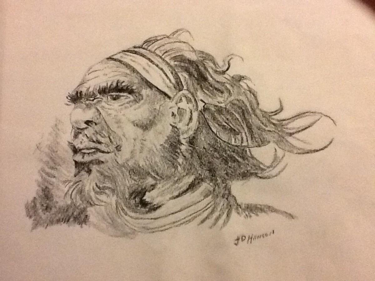 Australian Aboriginal Elder. My own version of an original drawing by Eric Jolliffe.