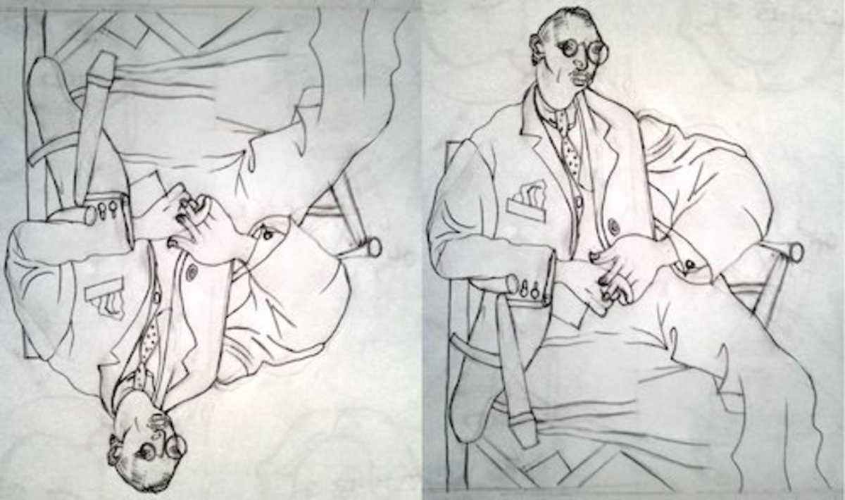 Drawing done upside down of Picasso's 'Portrait of Igor Stravinsky.'