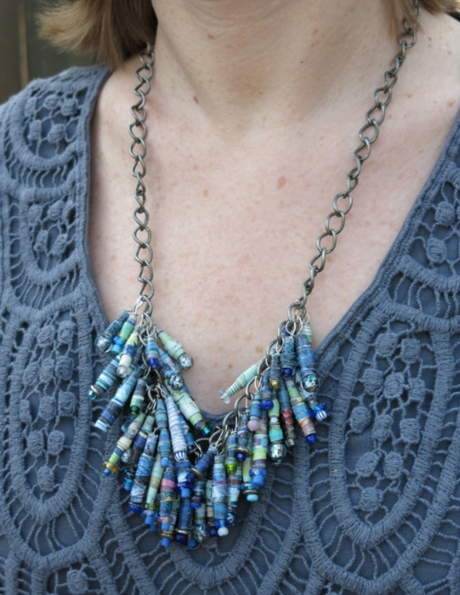 finished bib necklace with recycled paper beads