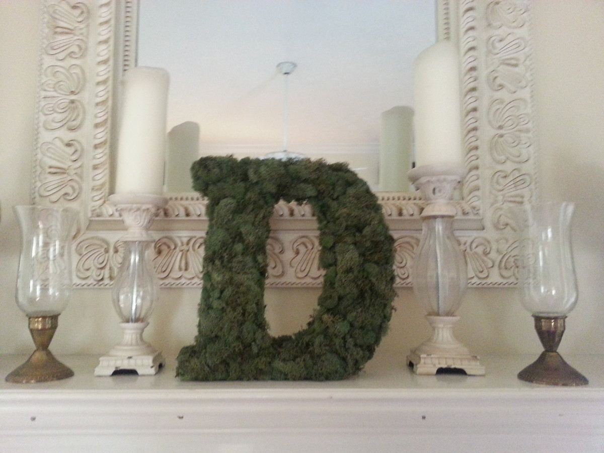 Moss-covered monogram wreath placed on my fireplace mantle