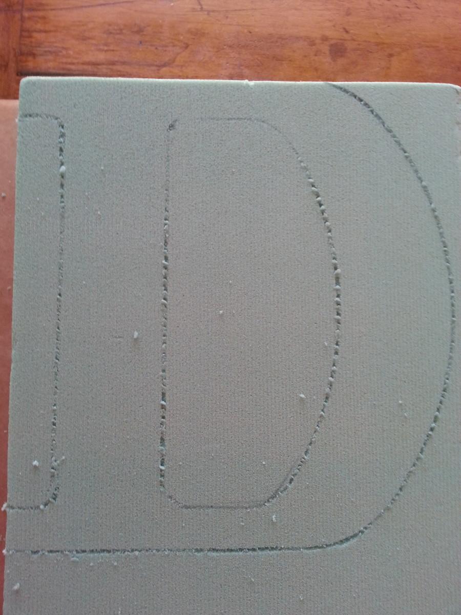 Traced letter on Styrofoam