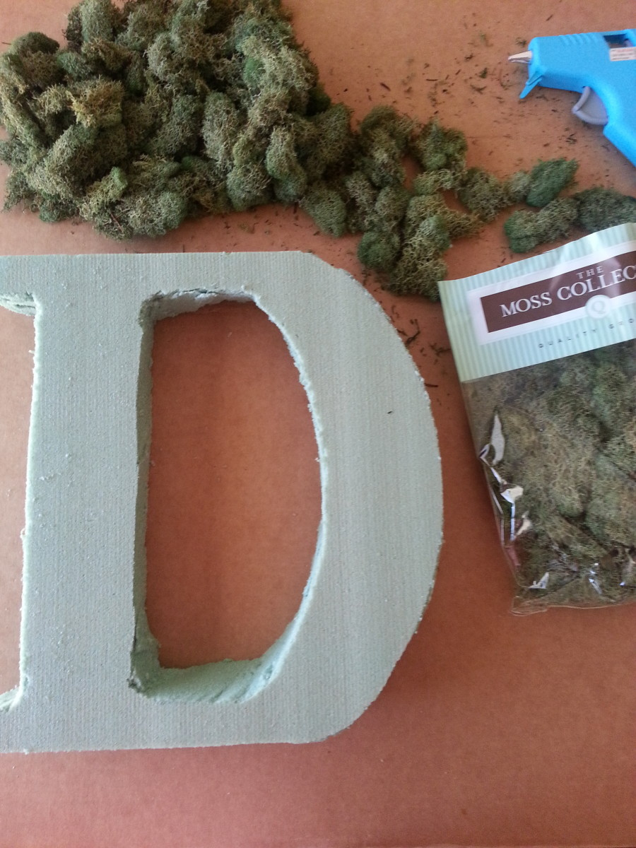 Styrofoam letter and moss, which is now ready to be glued to letter.