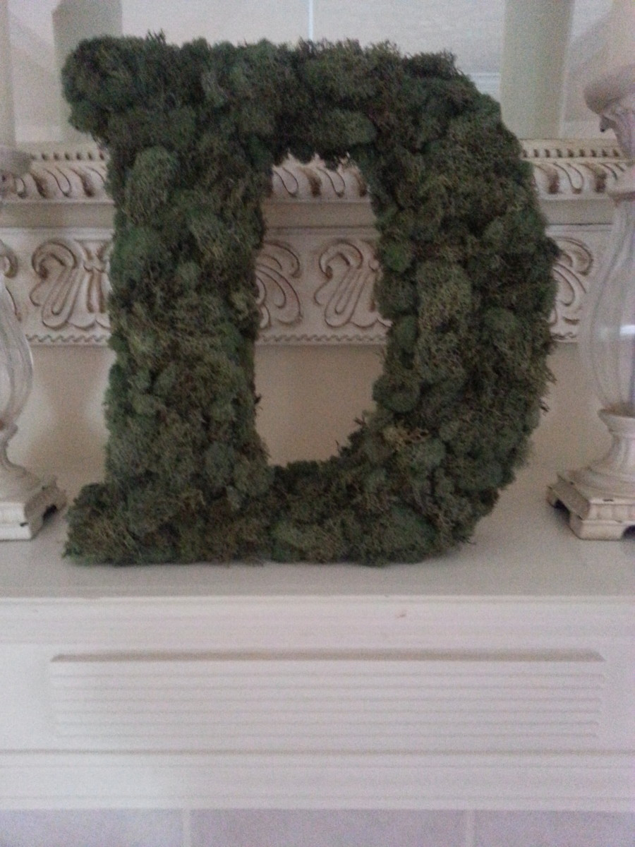 Moss-covered monogram/wreath placed on my fireplace mantle