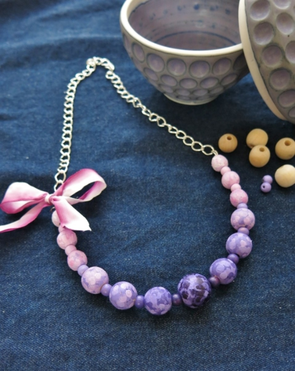 Statement necklace made with handpainted beads