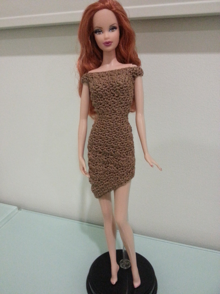 Barbie Asymmetrical Off Shoulder Dress (Front View)