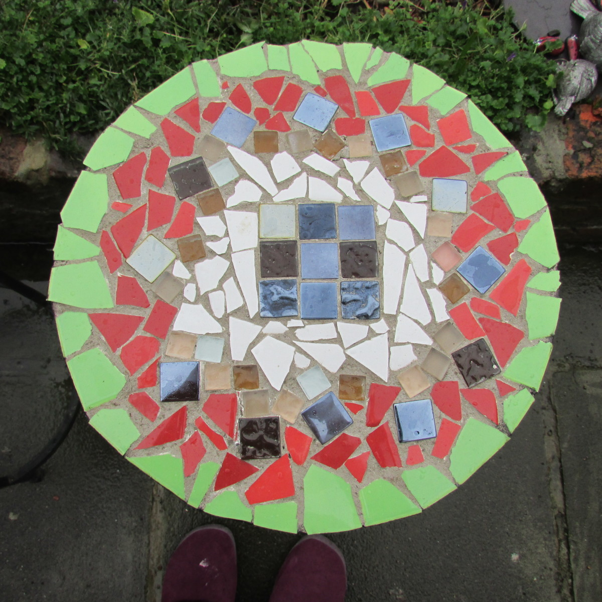 This table is made with my own ceramic tile and turned into a great mosaic design