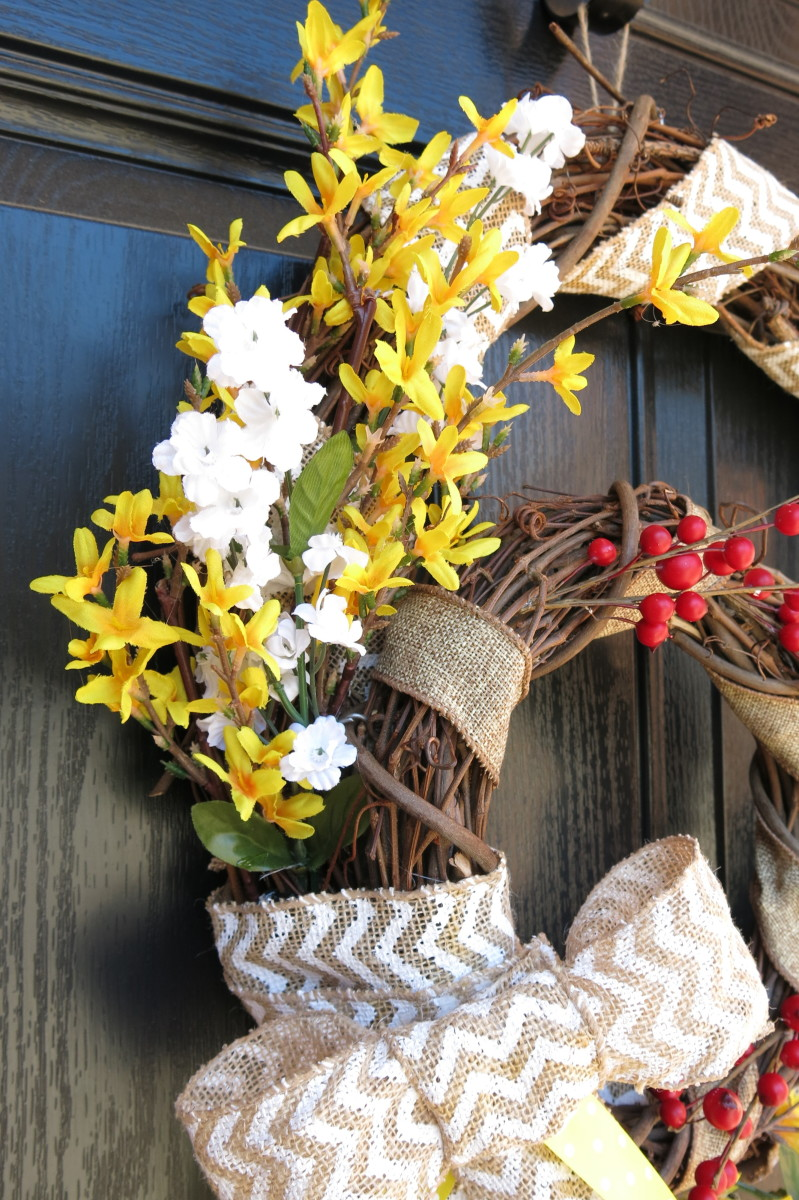 Berries and blooms in a Double Grapevine Welcome Wreath
