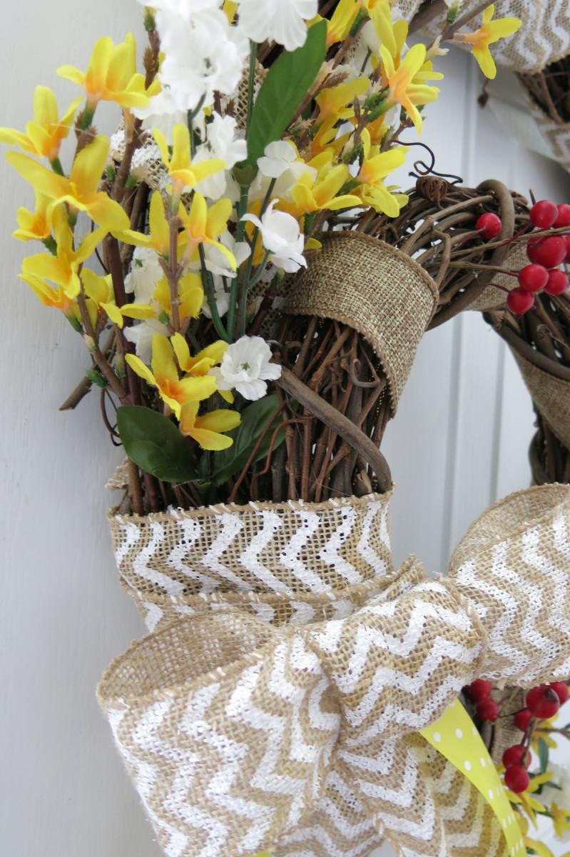 Placing your flowers on your double wreath