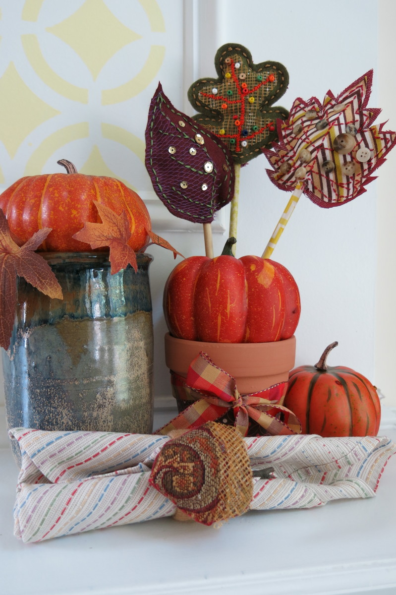 Fall decorating with scrap fabric leaves and acorns