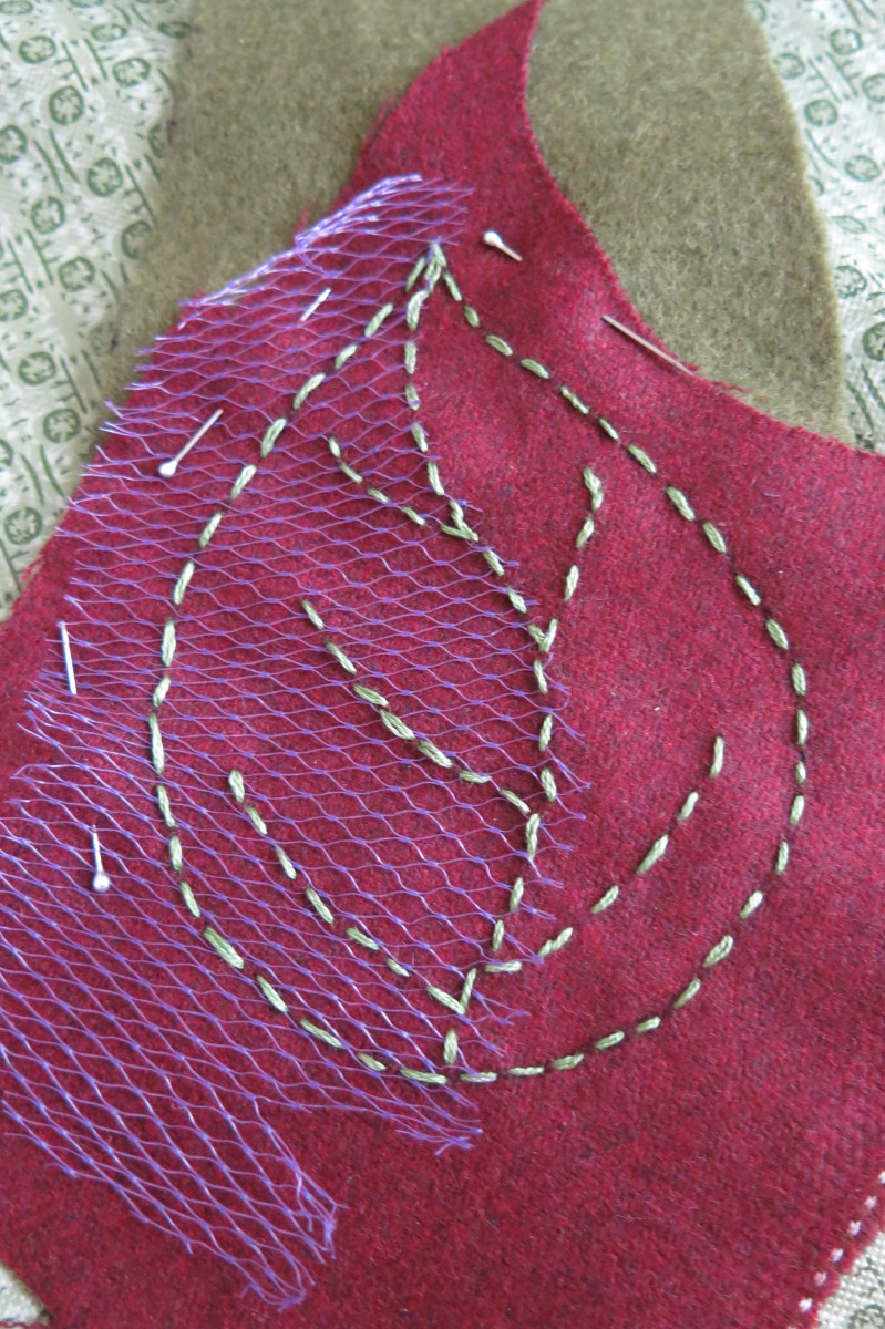 Adding stitch details to your scrap fabric leaves