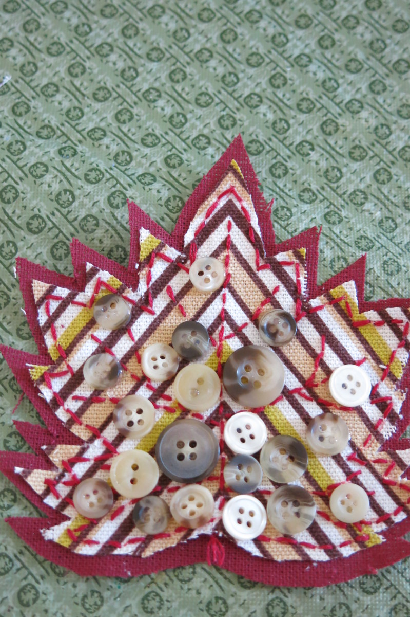 Scrap fabric maple leaf for fall decorating