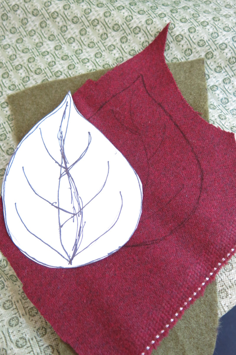 Trace your leaf template on your scrap fabric