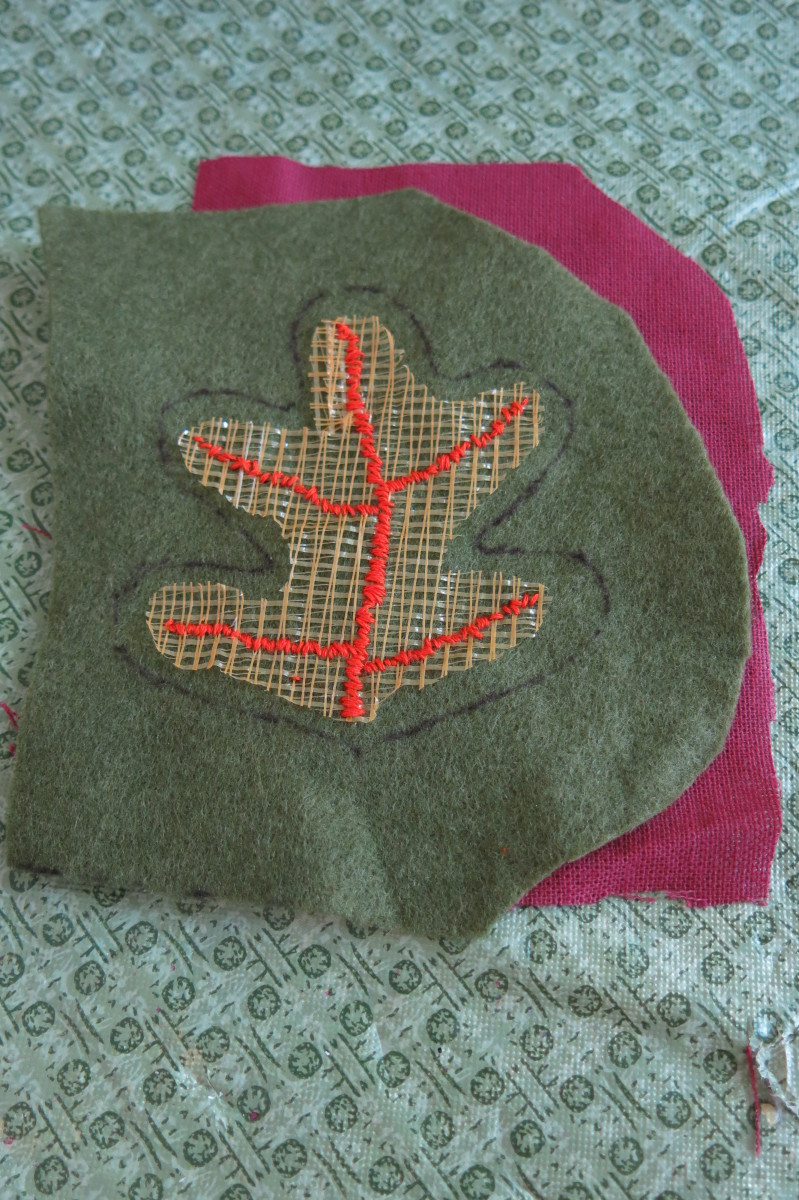 Using embroidery floss to decorate your scrap fabric fall leaves