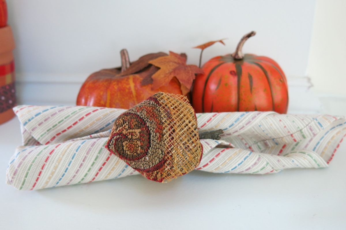 Finish your scrap fabric fall table decorations with some matching napkin rings.