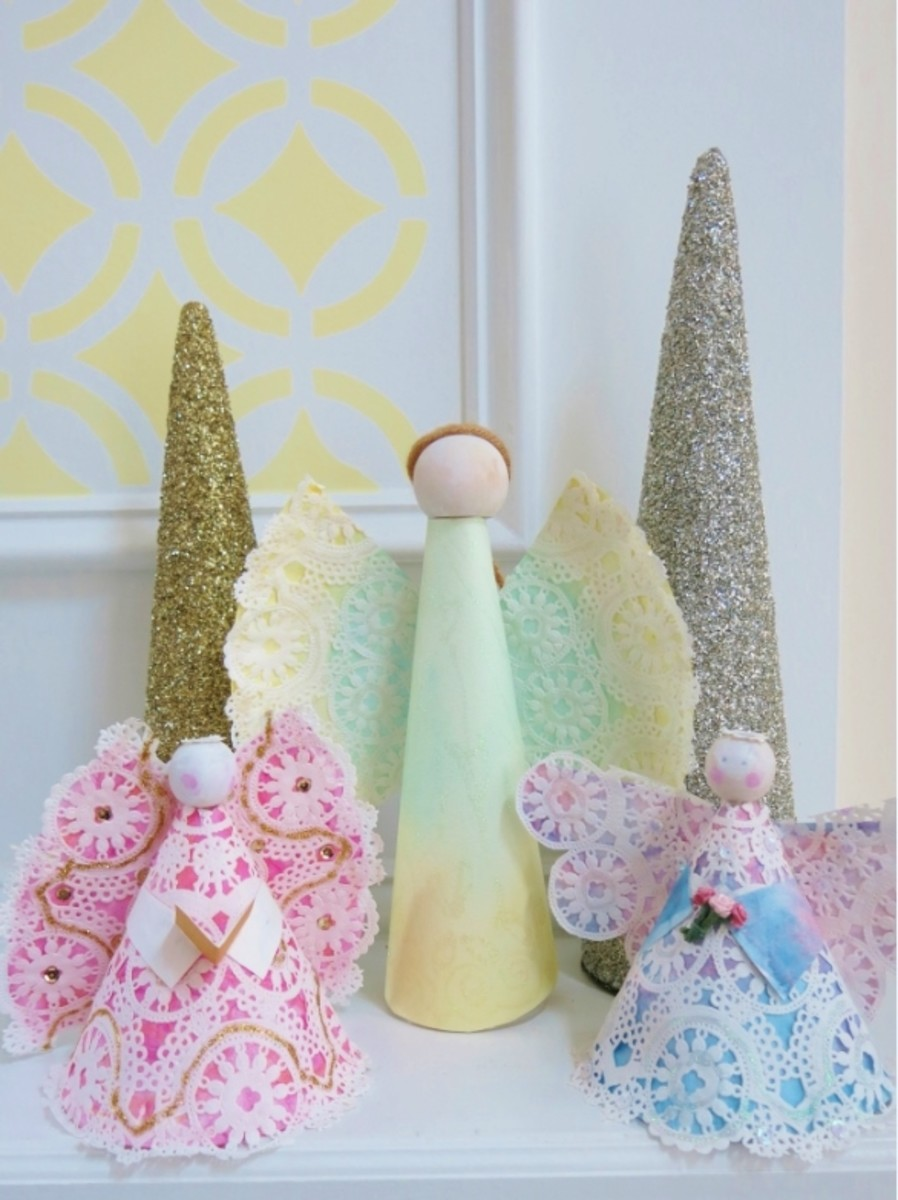 These colorful angels are made from a simple paper plate, a lace doily, and some basic art supplies.