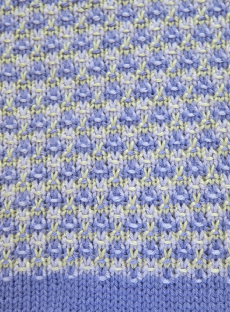Color Combination and Design Detail for Mosaic Baby Blanket Knitting Pattern