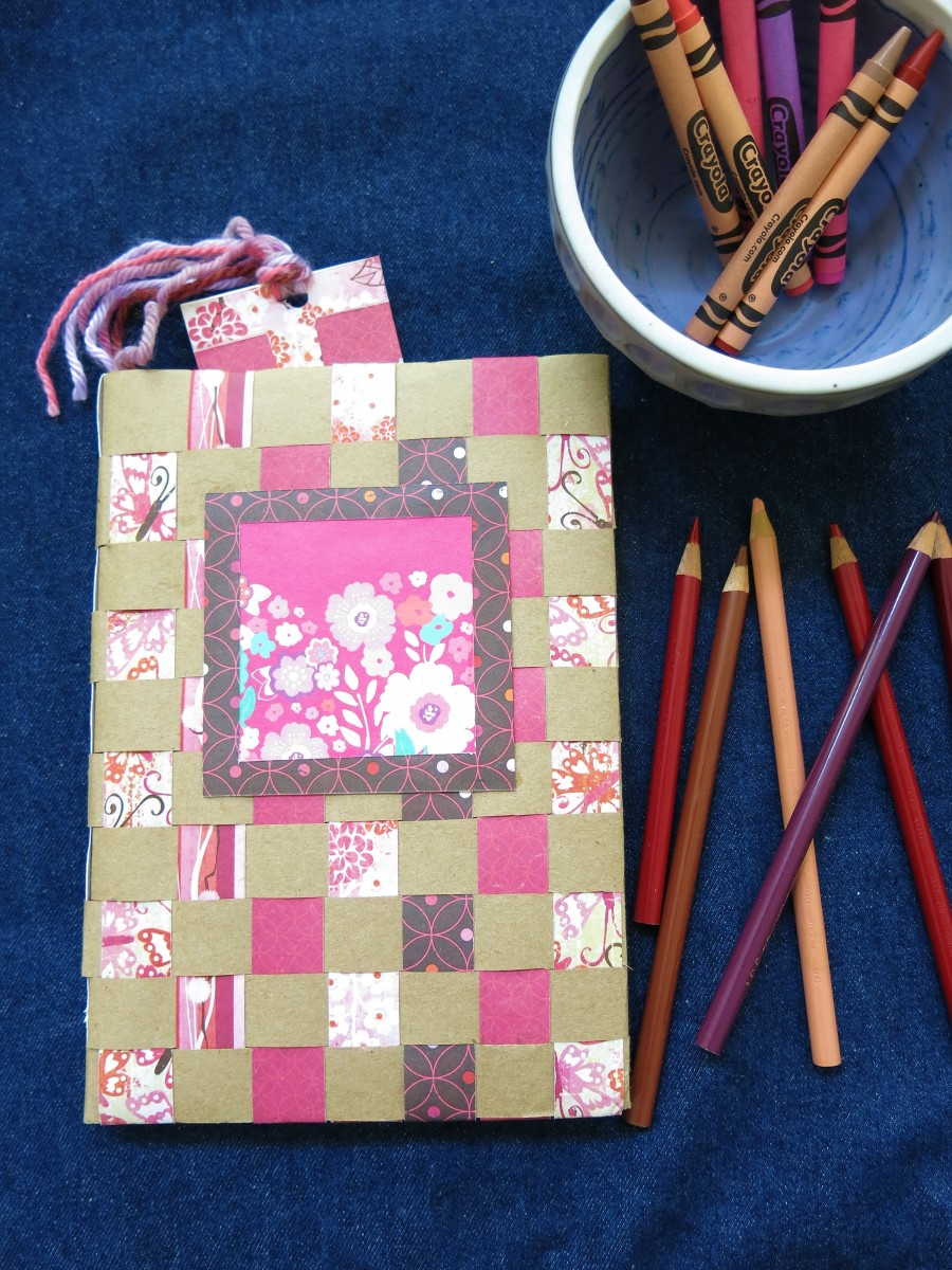 Decorating your woven paper journal or sketchbook cover.
