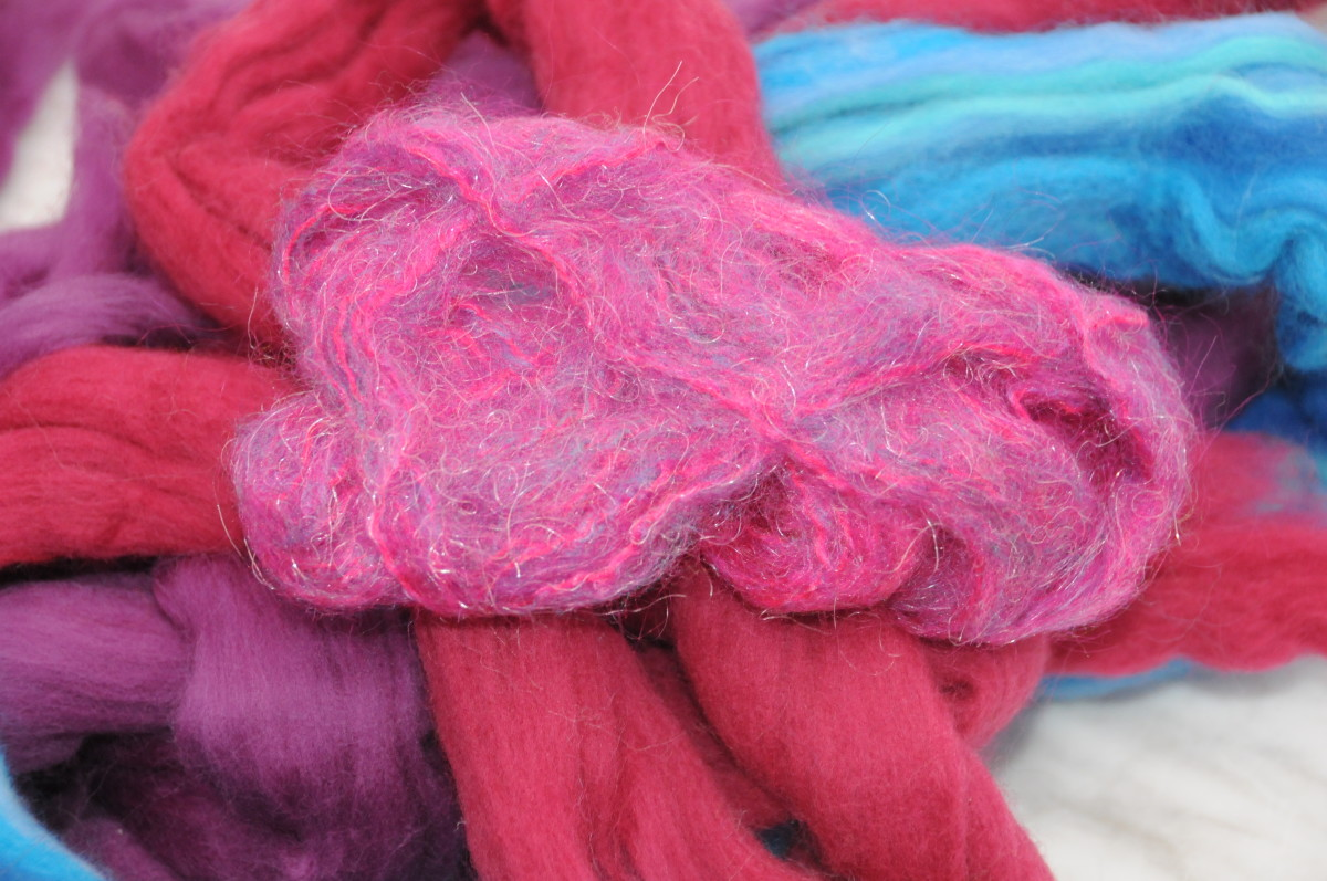 Wool roving and mohair knitting yarn