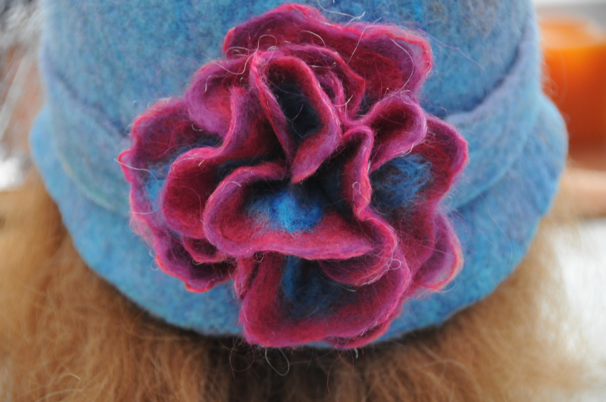 The completed wet-felted flower.