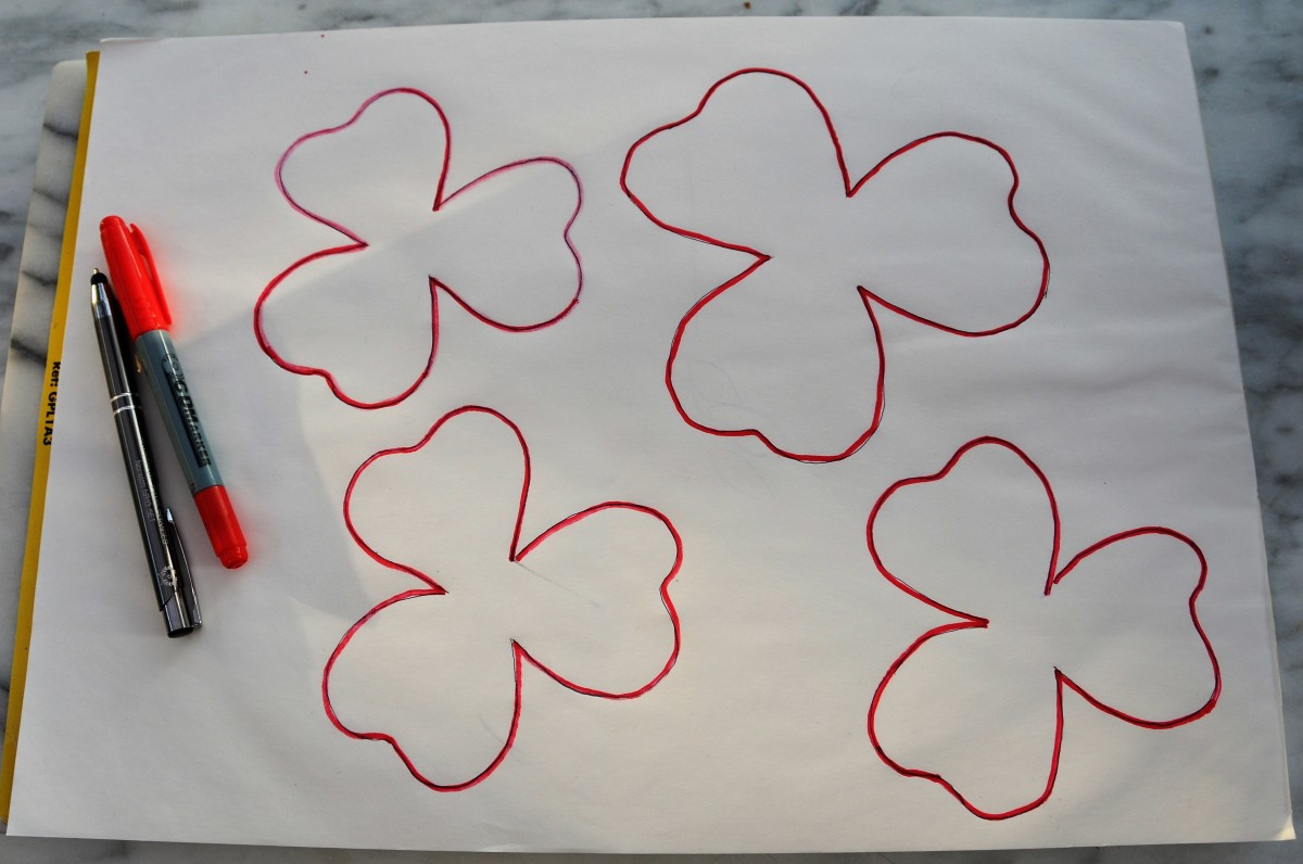 Draw 3 matching petals and one larger petal for the bottom layer.