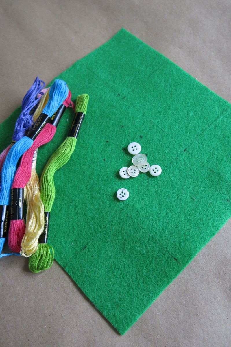 Materials for embroidering a simple floral bouquet