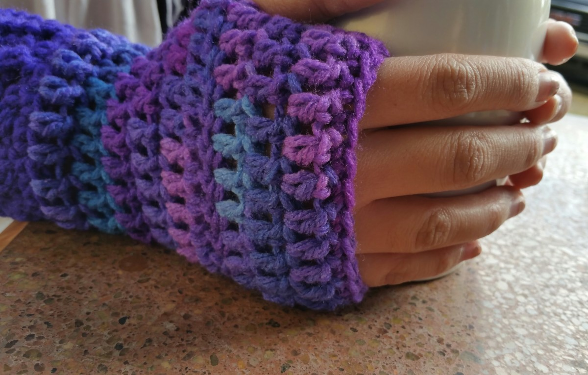 Fingerless gloves made from acrylic, worsted weight yarn.