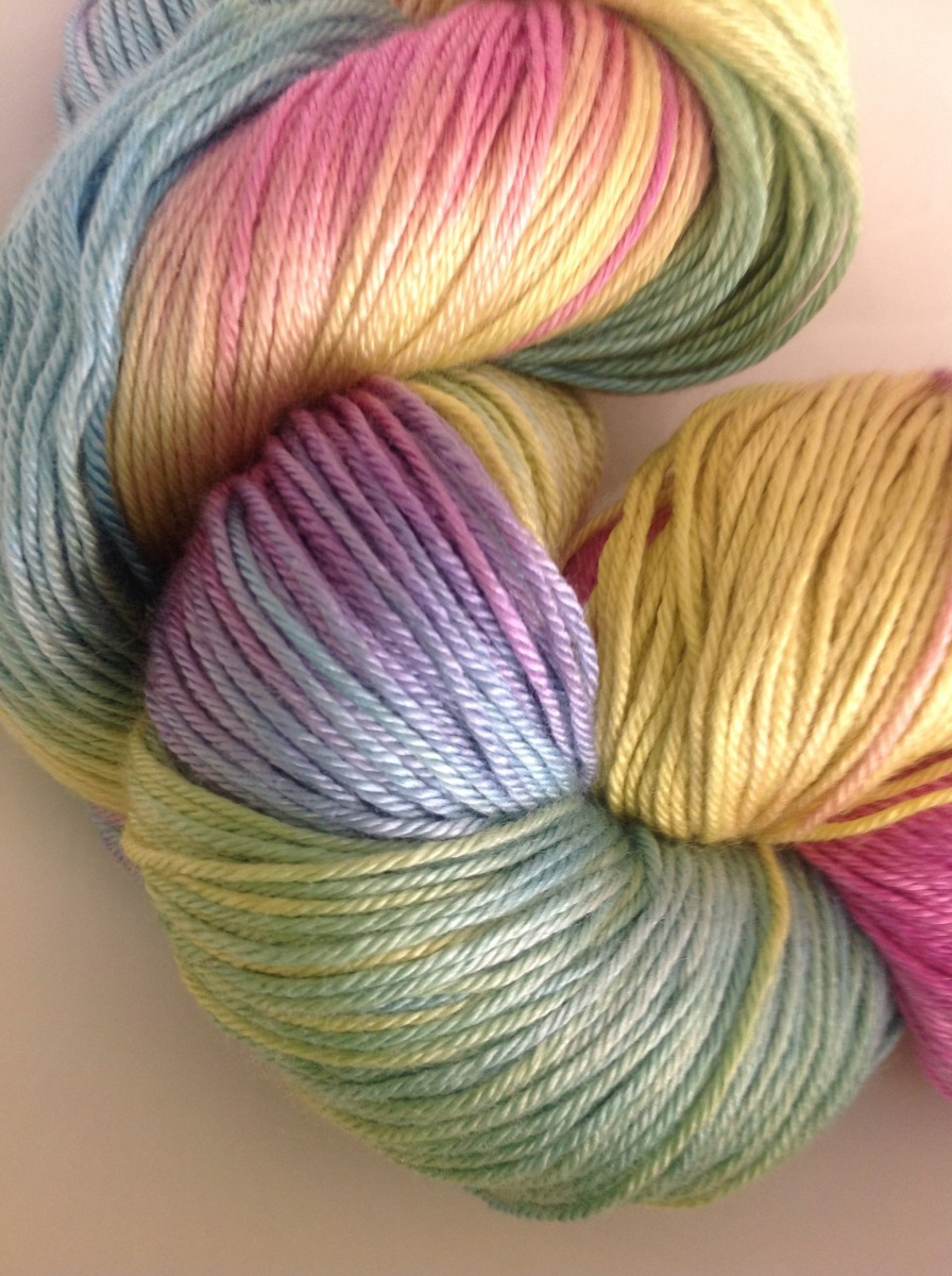 Hand dyed silk and cashmere yarn in pastel colors.