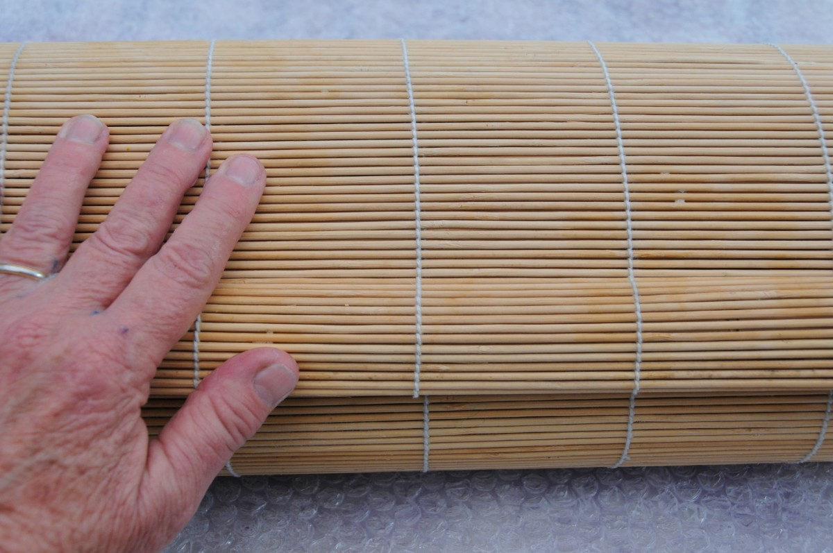 A bamboo blind makes light work of the felting process.