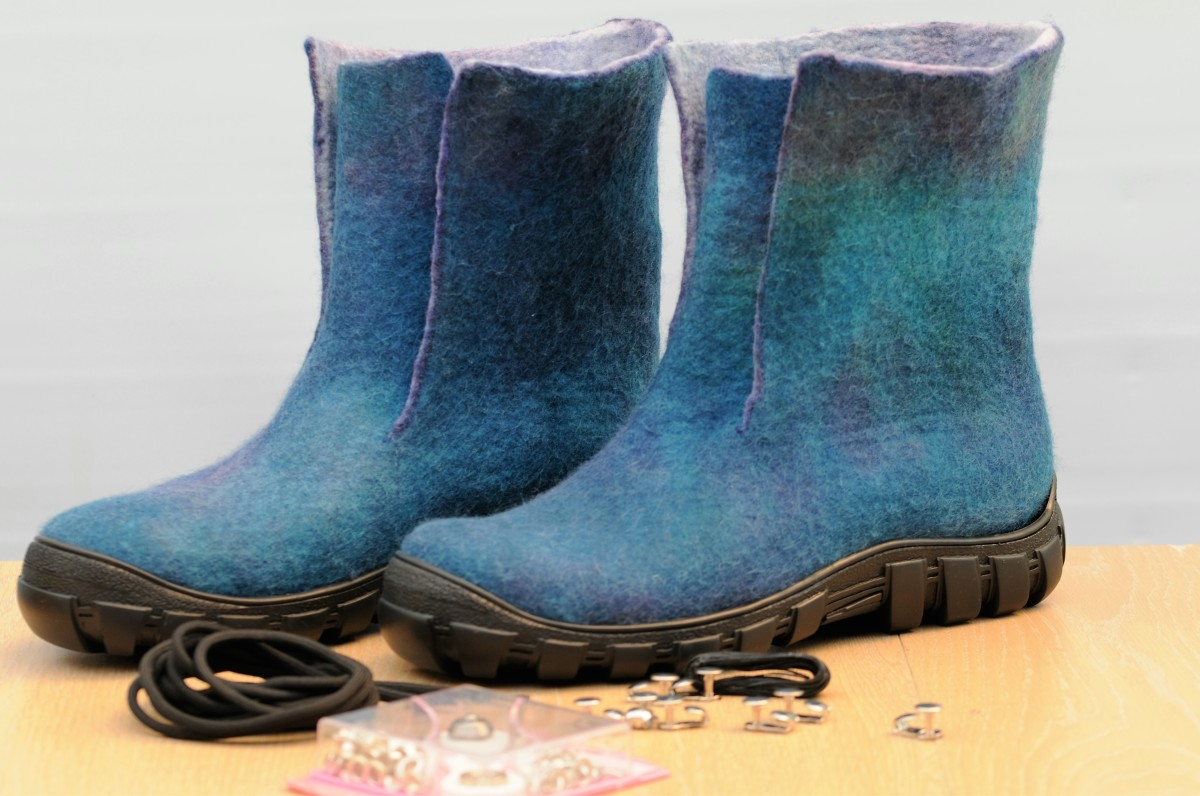 Wet Felted Boots ready to be glued and stitched with  Eyelets,Speed Laces and Laces waiting to be attached.