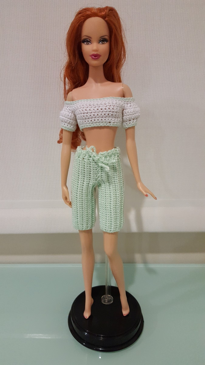 Barbie Bermuda Shorts and Cropped Top w/ Puffy Sleeves