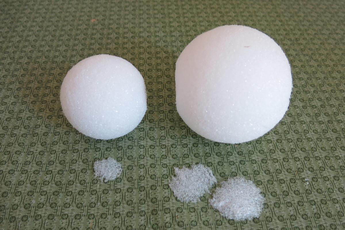 Preparing the styrofoam balls to make a twine scarecrow for fall decorating.
