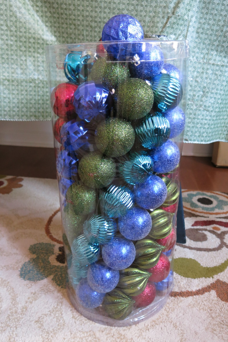 Buy plastic shatter-proof ornaments on sale to make your ornament wreath.