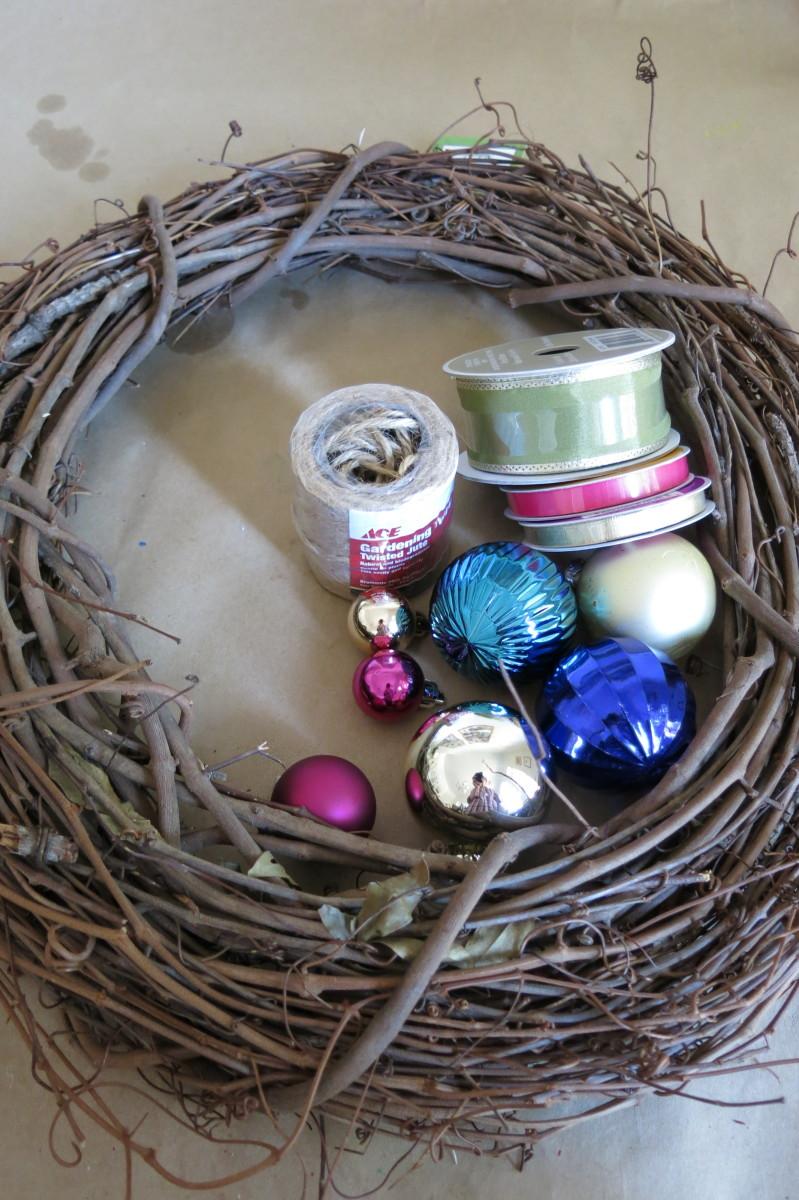 Materials to make an ornament wreath