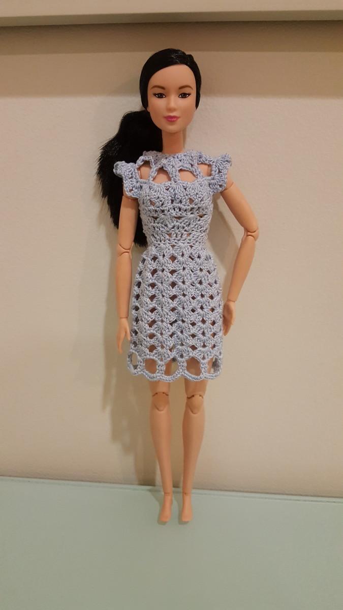 Barbie Cut Out Shell Stitch Dress