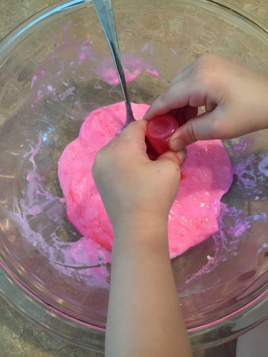 Once all of your ingredients are mixed, add optional food coloring, essential oil or other cool mix-ins like glitter!