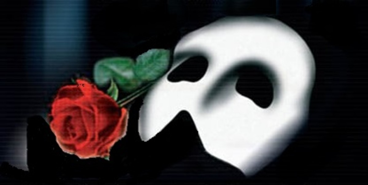 """The white mask and rose came from the imagination of the creators of the musical, """"The Phantom of the opera"""". It has become the symbol of the mysterious tale."""