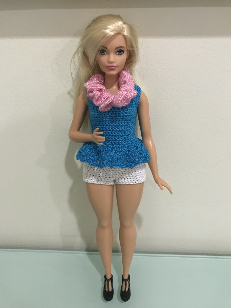 Curvy Barbie Peplum Top, Shorts, and Lei