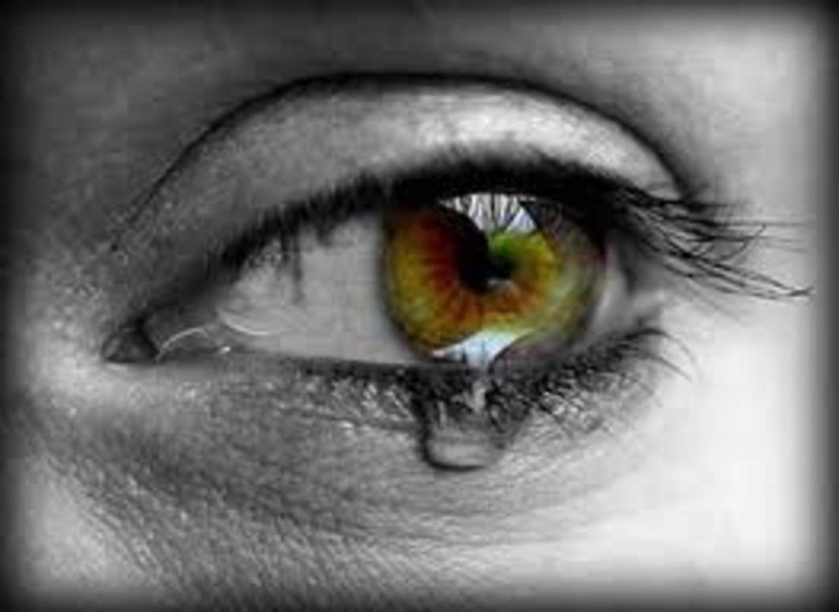Sad eye with tear