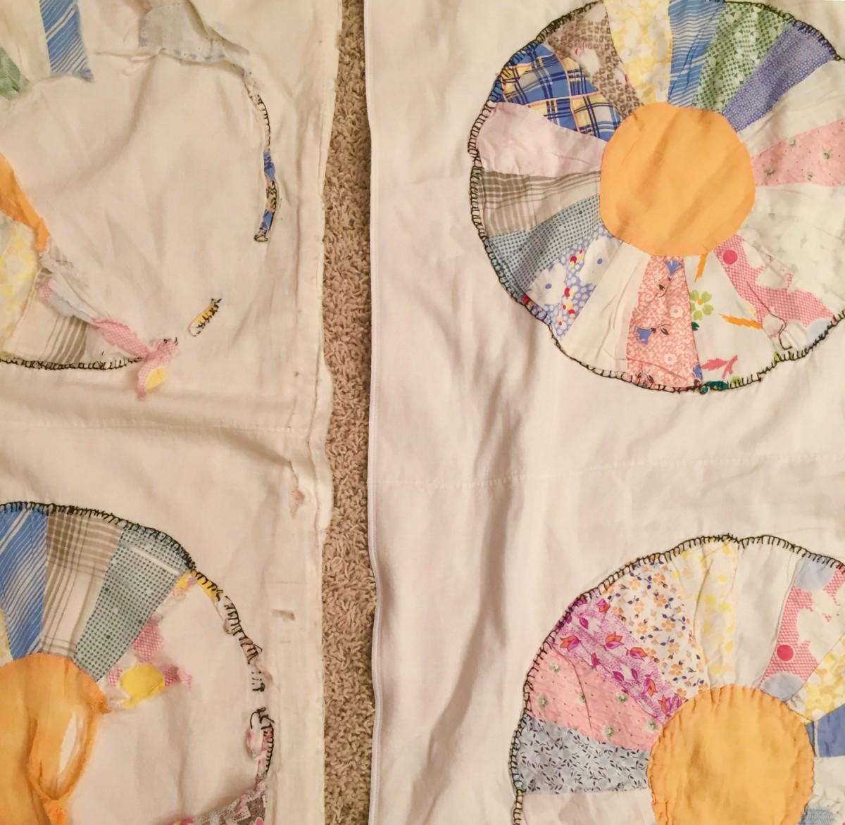 The old, worn quilt section is shown next to the newly serged section.